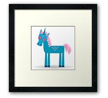 Funny blue unicorn pink  Framed Print