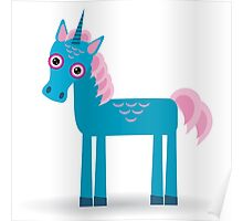 Funny blue unicorn pink  Poster