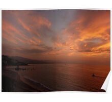 sunset with some clouds - puesta del sol con unos nubes Poster