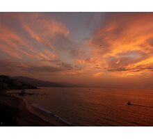 sunset with some clouds - puesta del sol con unos nubes Photographic Print