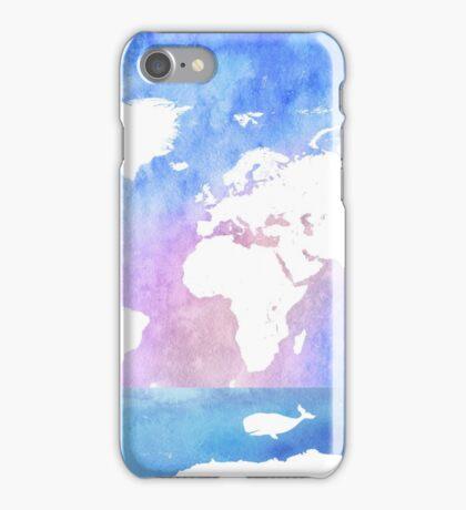 Ocean, boat, map, whale iPhone Case/Skin