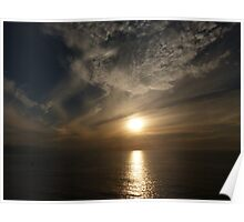 sunset with some clouds II - puesta del sol con unos nubes Poster