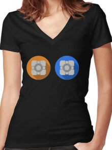 Cube portal Women's Fitted V-Neck T-Shirt