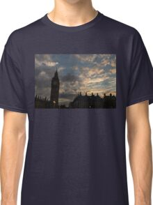British Symbols and Landmarks - Big Ben 9 PM Sunset in London, England Classic T-Shirt