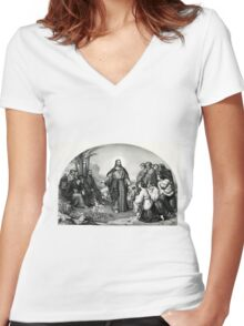 Christ's sermon on the mount - The parable of the lily - 1866 - Currier & Ives Women's Fitted V-Neck T-Shirt