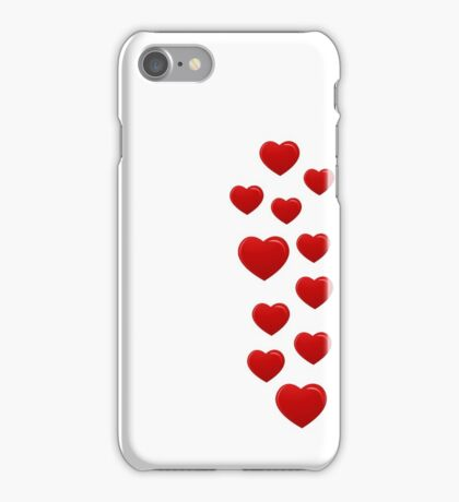 red hearts on white background iPhone Case/Skin
