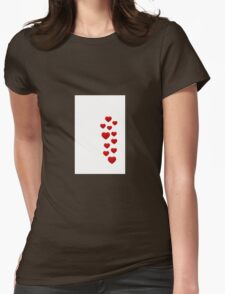 red hearts on white background Womens Fitted T-Shirt