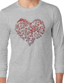 vintage red heart heart and flowers Long Sleeve T-Shirt