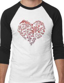 vintage red heart heart and flowers Men's Baseball ¾ T-Shirt