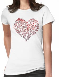 vintage red heart heart and flowers Womens Fitted T-Shirt