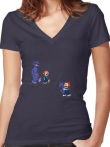 calvin and hobbes meets hanks and raven Women's Fitted V-Neck T-Shirt