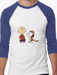 calvin and hobbes meets peanuts Men's Baseball ¾ T-Shirt