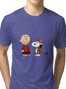 calvin and hobbes meets peanuts Tri-blend T-Shirt