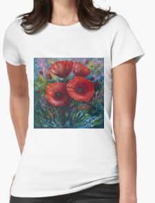Red Poppies (Palette Knife Painting) by Lena Owens/OLena Art Womens Fitted T-Shirt