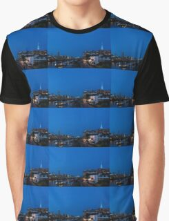 British Symbols and Landmarks - Shakespeare Globe Theatre Blue Hour in London, England Graphic T-Shirt