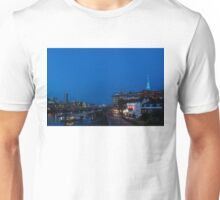 British Symbols and Landmarks - Shakespeare Globe Theatre Blue Hour in London, England Unisex T-Shirt