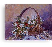Daisies in Old Basket Canvas Print