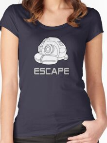 Sci-fi Escape Pod Design with Wording Women's Fitted Scoop T-Shirt