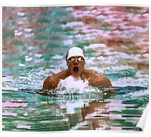 Swimmer Athlete In Pool With Water Drops Painting Poster