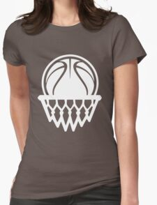 Basketball White Color Edition Womens Fitted T-Shirt