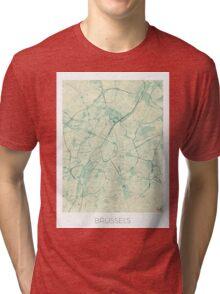 Brussels Map Blue Vintage Tri-blend T-Shirt