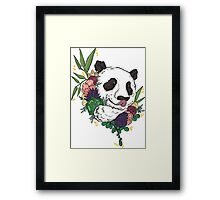 Panda bear with flowers Framed Print