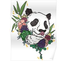 Panda bear with flowers Poster