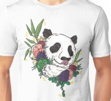 Panda bear with flowers Unisex T-Shirt