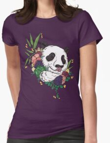 Panda bear with flowers Womens Fitted T-Shirt