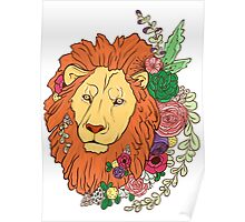 Lion with flowers in his head Poster