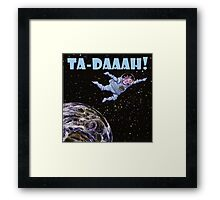 Space Cow over Earth Framed Print