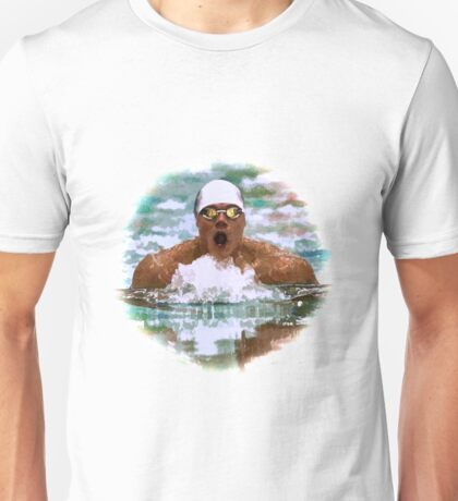 Swimmer Athlete In Pool With Water Drops Painting Unisex T-Shirt