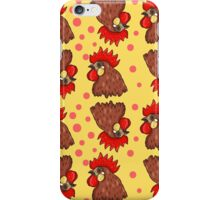 Red rooster seamless pattern iPhone Case/Skin