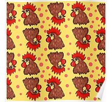 Red rooster seamless pattern Poster