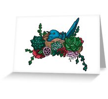 Blue bird in floral nest Greeting Card