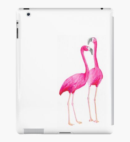 two flamingos - water colour markers iPad Case/Skin