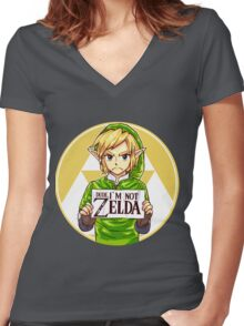 Dude, I'm Not ZELDA! Women's Fitted V-Neck T-Shirt