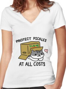 Pickles Protection Squad Women's Fitted V-Neck T-Shirt