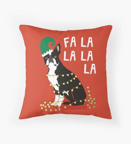 Cute Dog Christmas Gift santa pug boston terrier Throw Pillow