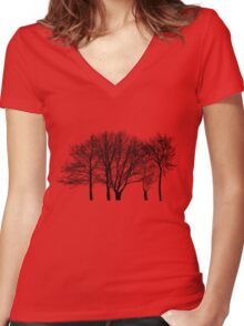 Tree silhouette Women's Fitted V-Neck T-Shirt