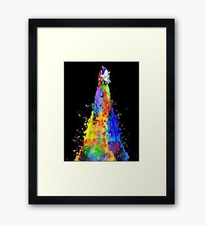 Rainbow Spaceship Dark Background Framed Print