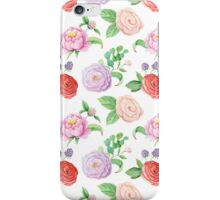 Handpainted watercolor roses and leaves inspired by garden iPhone Case/Skin