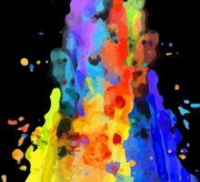 Rainbow Spaceship Dark Background Sticker