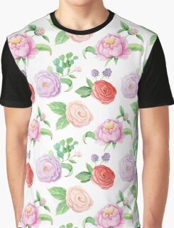 Handpainted watercolor roses and leaves inspired by garden Graphic T-Shirt