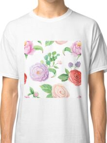 Handpainted watercolor roses and leaves inspired by garden Classic T-Shirt