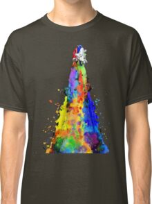 Rainbow Spaceship Dark Background Classic T-Shirt