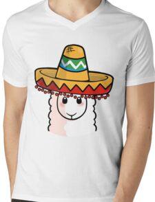 Sombrero Llama Mens V-Neck T-Shirt
