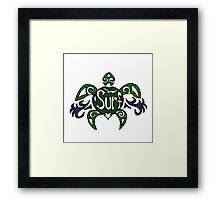 Cool Fun Surfing Turtle Art Framed Print