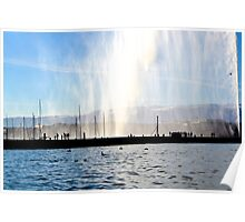 Silhouettes at the Jet d'eau - Geneva Poster