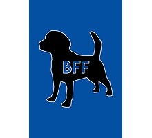 Dog BFF - Dog Best Friend Forever Dog BFF - Dog Best Friend Forever (black silhouette, white border, color background) Photographic Print